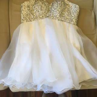 White Sequence Strapless Dress