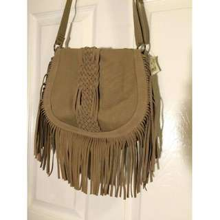 American Eagle Beige Frill Messenger Bag