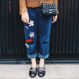Jehn Patches Jeans in navy