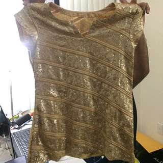 Designer Gold Sequin Top