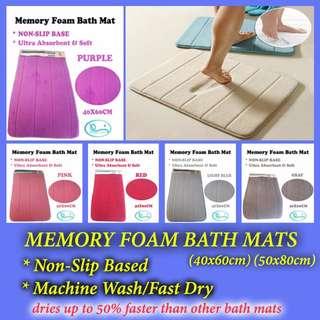 [ 2pcs= $19.00] Memory Foam Bath Mats (Non-Slip Based, Ultra Absorbent & Soft)
