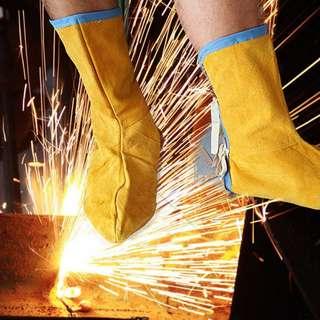 ~子甄彣璟~長牛皮電焊護腳 護腿牛皮 焊工護腳蓋 耐磨隔熱防火花飛濺腳蓋護腳 CD2電銲 氬焊 電焊勞工防護用品