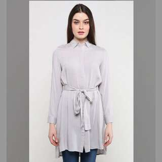 Fashion Valet Longline Button Shirt with Waist Sash in Grey