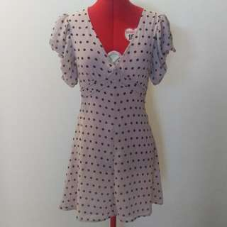 """Fancy A Flutter"" Mink Pink Polka Dot Dress In Blush Color"