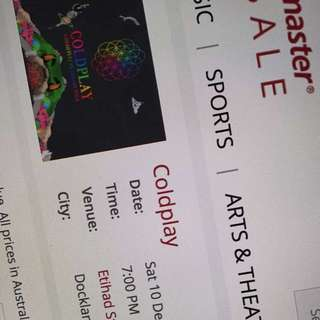 COLDPLAY CONCERT - SATURDAY 10th - ETIHAD STADIUM