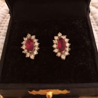 True Ruby Crushed Diamond Studs