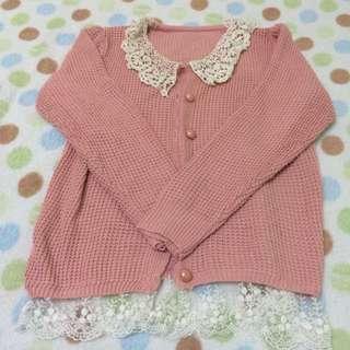 ❤️出清❤️新✨粉紅色蕾絲毛衣外套☺️