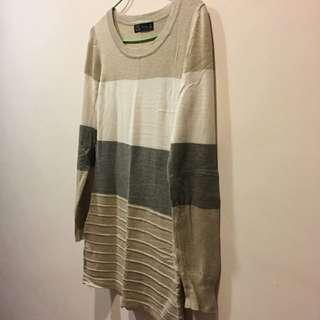 Zara 🎀厚磅棉氣質時尚長版長袖(可當洋裝)