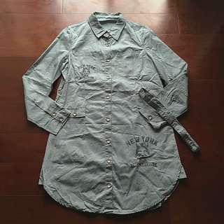 灰綠色印花長襯衫/洋裝
