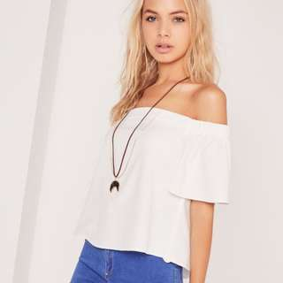 Missguided Basic Bardot White Top
