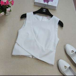 Criss Cross Cropped White Blouse