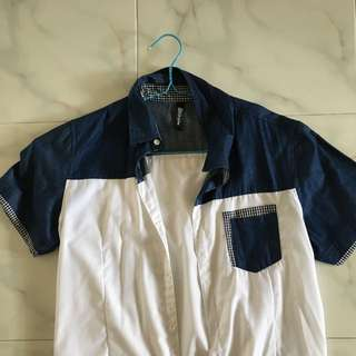 Blue White Collar Shirt