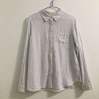 小清新藍條紋棉麻白襯衫