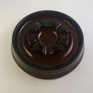 """Vintage Circular Brown Glass Ashtray 7"""""""
