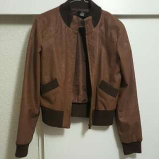 Brown leather look jacket