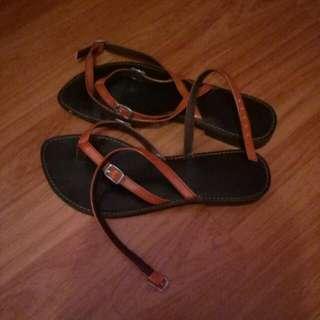 Orange Laced Sandals