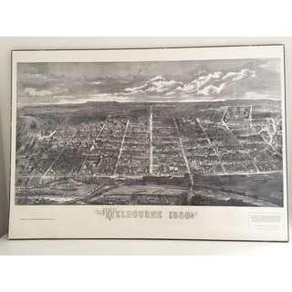 Vintage Bird's-eye View Melbourne City Map 1880 Print Hard Board 97x69cm Ready To Hang
