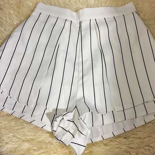 White/navy Stripe Party Shorts