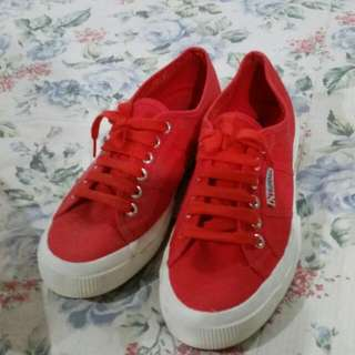 Superga red shoes