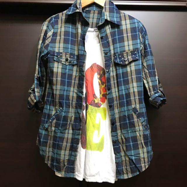 2件150)白T+格紋襯衫