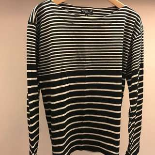 Agnes b. Homme Striped Cotton Sweatshirt