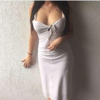 Beautiful Multi-Coloured Striped White Dress