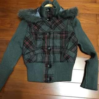 針織格紋連帽外套