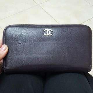 Chanel銀包 深紫色 牛皮 100% Real 70%new Zippy Wallet