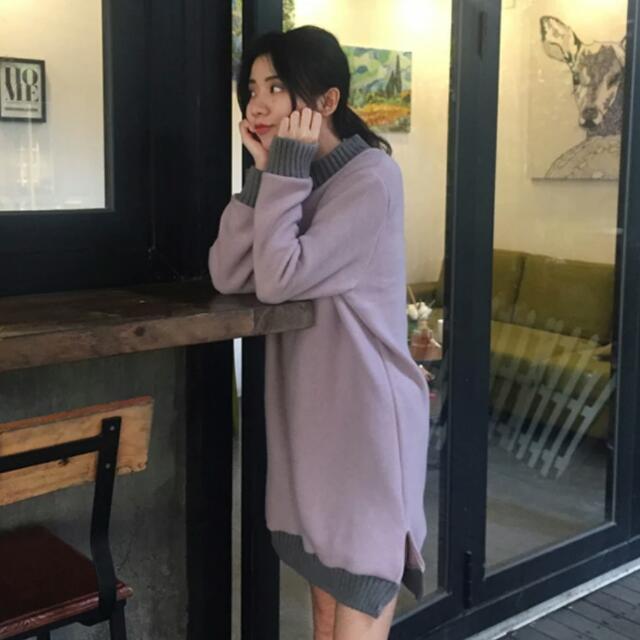 2色💓韓系高領拼接棉質長版T