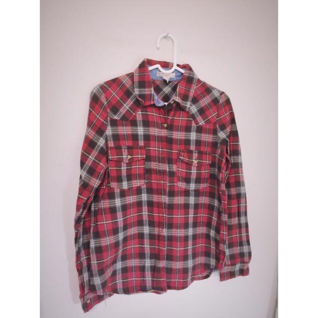 《出清》50%Fifty Percent紅色氣質版格子襯衫 S