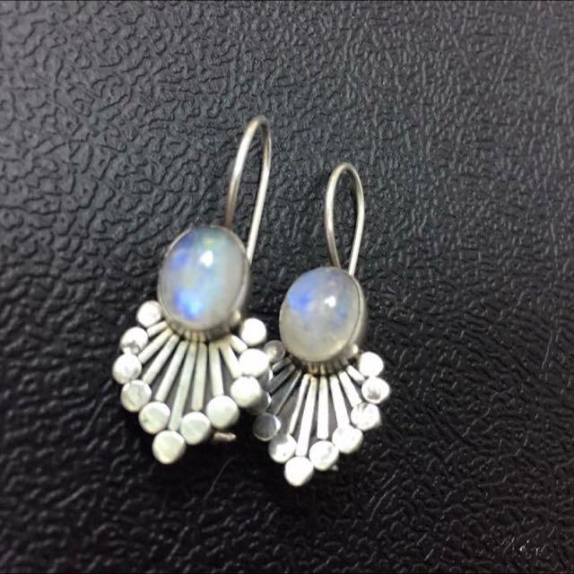 925純銀月光石耳環