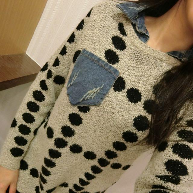 韓國點點牛仔假兩件針織毛衣