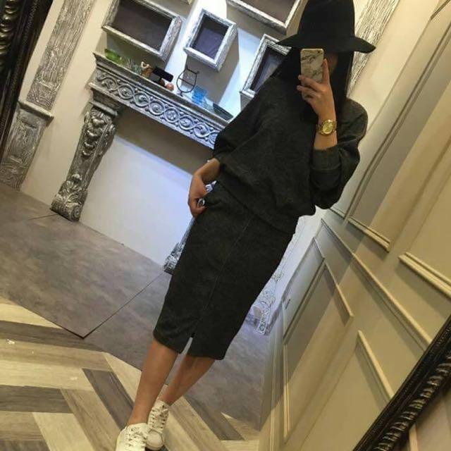 韓國窄裙毛料套裝