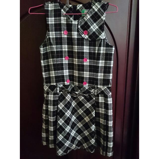 【童裝】日系氣質格子百折裙洋裝