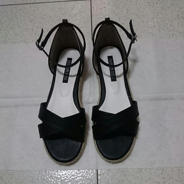交叉帶麻編平底涼鞋  24.5