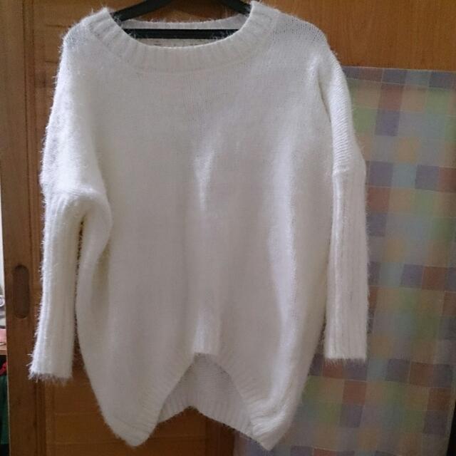二手 毛海針織毛衣(白)