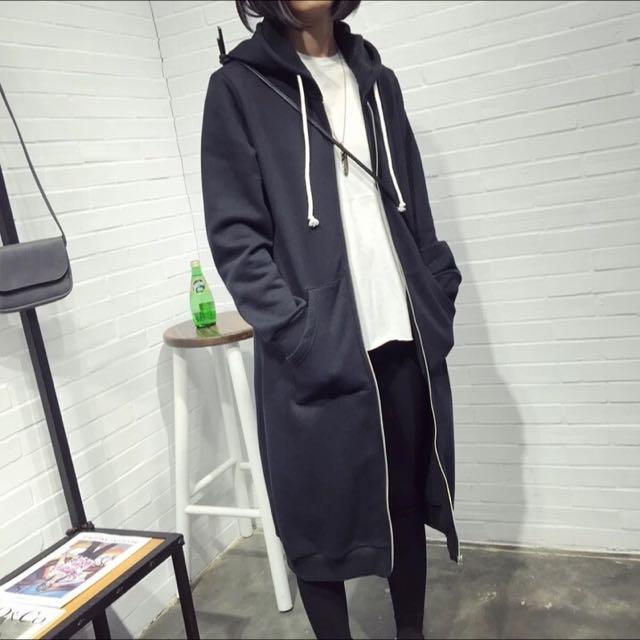 韓版帥氣超長版顯瘦極簡百搭連帽休閒口袋外套 Zara 貓咪曬月亮 vii&co 韓劇 個性