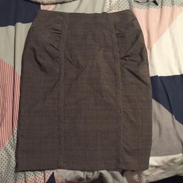 Avocado Brown/Grey Skirt Pink Pin Stripes