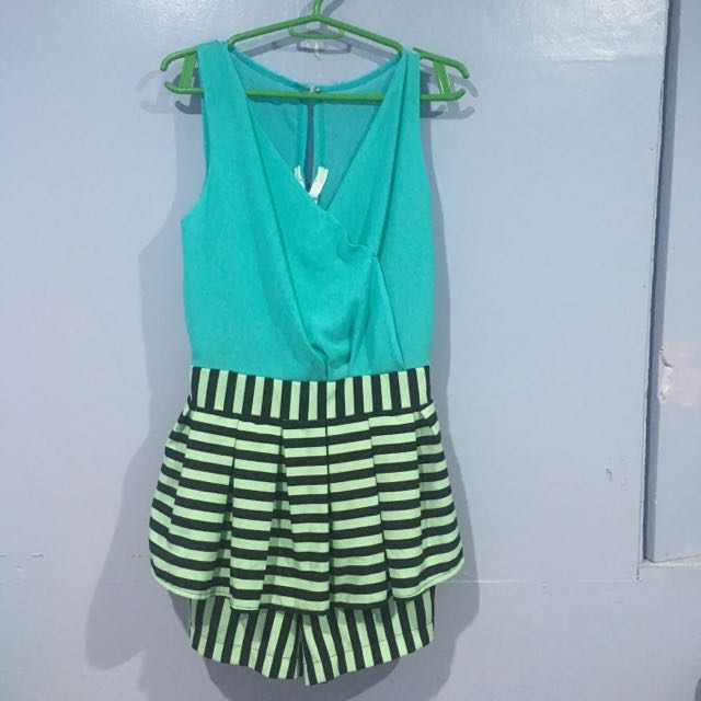 Blue Green Romper/skirt