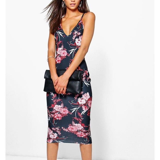 BNWT sz10 Bodycon Dress - Dark Floral Print