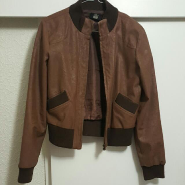 Brown leather look jacket