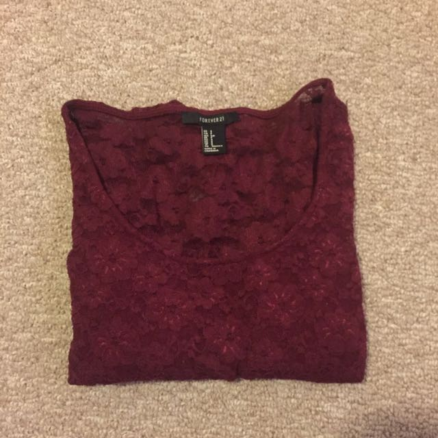 burgundy long sleeve crop top from forever 21