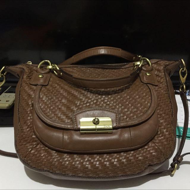 Coach Kristin Leather woven hobo bag