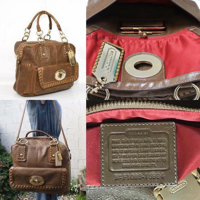 COACH Rare Ginger Whipstitch Satchel Bowler Bag
