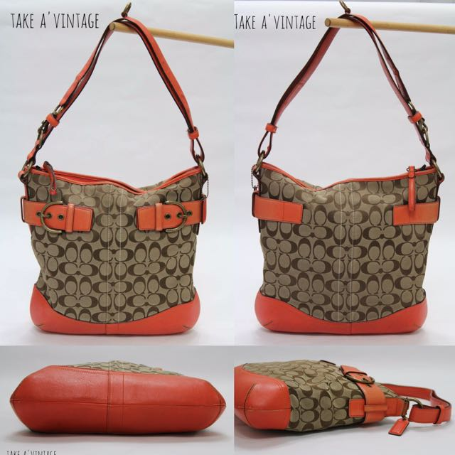 COACH Signature Buckle Shoulder/Crossbody Bag, Orange