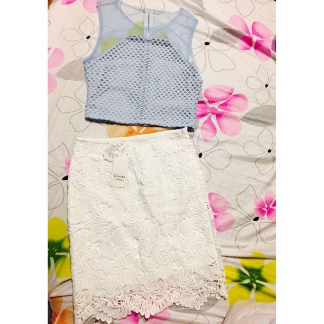 蕾絲裙+短版上衣crop top 可拆售