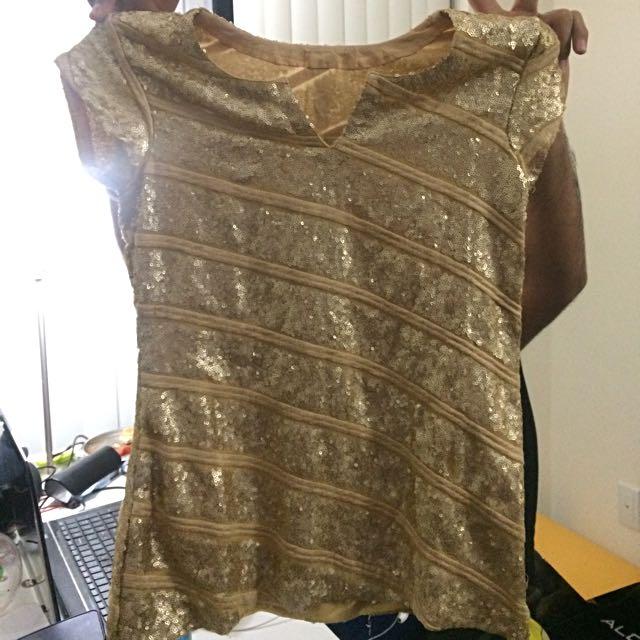 Designer Gold Sequin Top