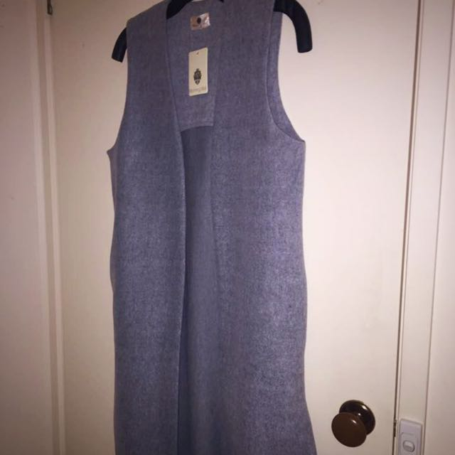 Grey Long Vest Size 8