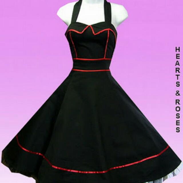H & R London 50's Inspired Swing Dress With Red Trim Piping