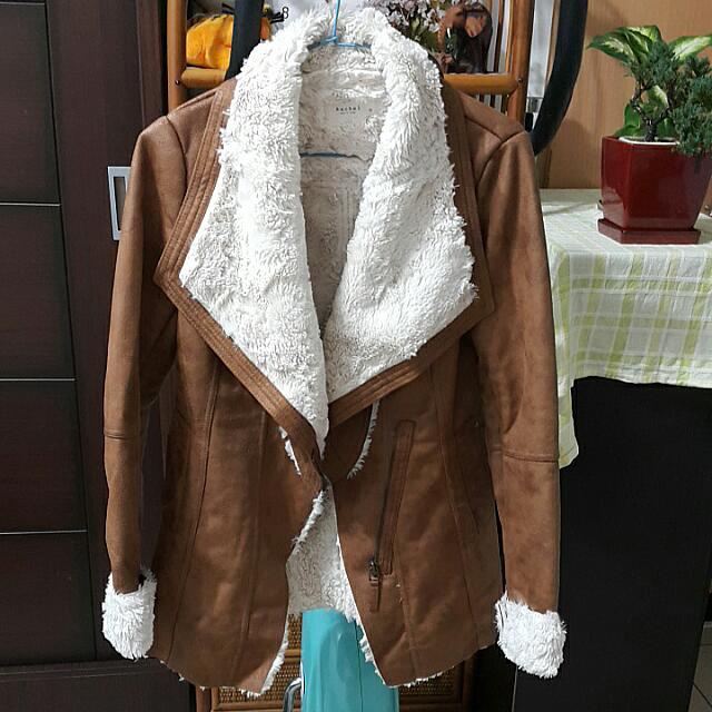 (含運)正韓-大翻領內刷毛駝色長版外套M號
